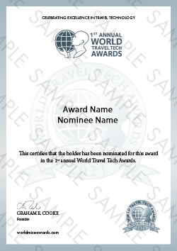 World Travel Tech Awards certificate sample